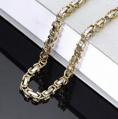 6mm Stainless Steel Charming Box Byzantine Link-chain Necklace Silver Gold