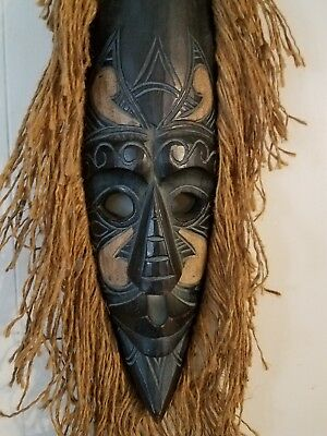 African Tribal Wooden Hand Carved Mask With Burlap Hair Wall Decor, 20 x 7 x 2.5