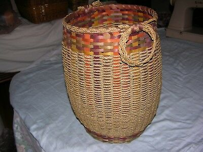 """Native American, Indian, First Nation Basket 10"""" Dia. x 13 ½"""" With Loop Handles"""