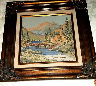 "Vintage Wall Hanging French ""art For Ever"" Tapestry Frame"