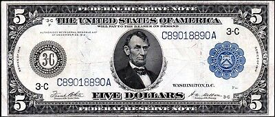 """104 YEAR-OLD 1914 LARGE-SIZE $5 DOLLAR """"TYPE-A"""" PHILADELPHIA FR-855a"""