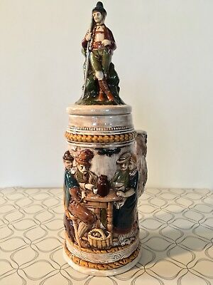 Antique German Pottery Beer Stein, Pipe Smokers, Walking Man *GREAT CONDITION