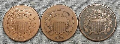 Lot Of 3 Two Cents Coins/Pieces - (2) 1864 & 1867