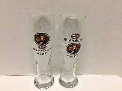 2 Hacker Pschorr Weisse Tall Ribbed Beer Glasses .5L Germany