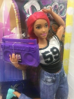Mattel 2017 Made To Move Barbie Doll,Pink Hair,Dancer,Ghetto-blaster,Jean,59 Top