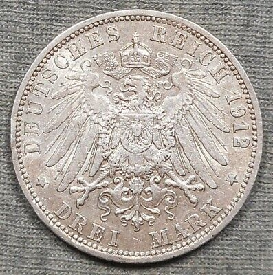 1912A German States Prussia 3 Mark Silver Coin - KM# 527