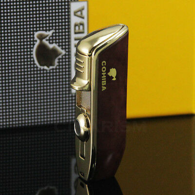 COHIBA Vintage Brown Metal Triple Torch Jet Flame Cigar Lighter New in Box