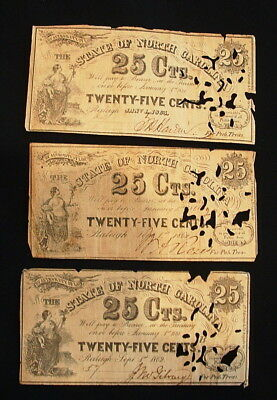 1862 And 1863 Lot Of 3 Sate Of North Carolina 25 Cent Currency Notes