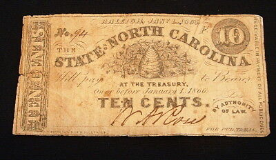 1863 Raleigh State Of North Carolina 10 Cent Note Currency #2