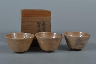 R8623: Japanese Old Hagi-ware White glaze TEA CUP Senchawan 3pcs, w/signed box