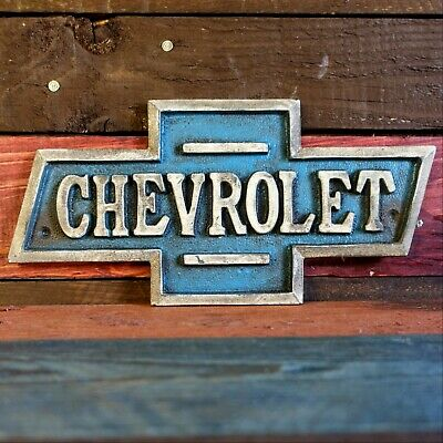 Chevrolet Cast Iron Plaque Embossed Chevy Sign Vintage Antique Finish Garage Bar