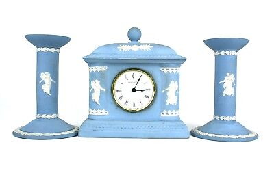 Vintage Wedgwood Jasperware Dancing Hours Mantel Clock & Pair of Candlesticks