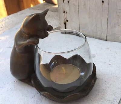 Vintage  Metal cat and with a fish bowl