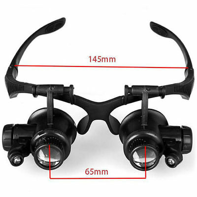 Magnifier Magnifying Eye Glass Loupe Jeweler Watch Repair with 8 Lens LED Light