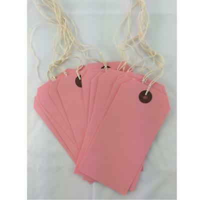 Pink Strung Tie On Tags String Luggage Labels Wedding Craft Gift 120mm x 60mm