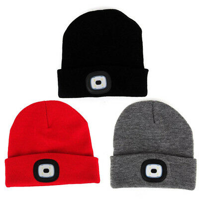 LED Beanie Hat With USB Rechargeable Battery 5 Hours High Light