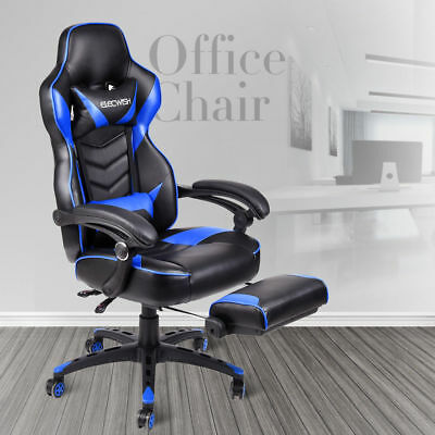 High Back Gaming Computer Chair Race Bucket Seat Ergonomic Office Desk Footrest