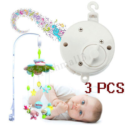 3PCS Baby Crib Mobile Bed Bell Toy Holder Arm Music Box DIY Rotary Windup Gift