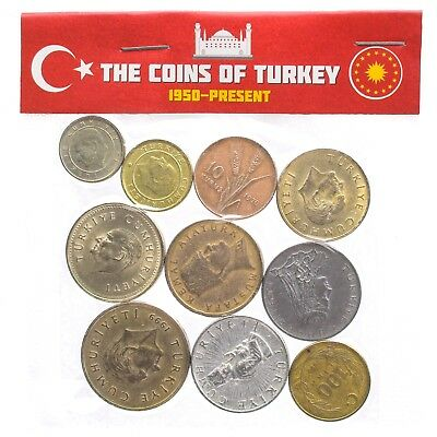 Lot Mixed 10 Turkish Coins Turkey Collectible Coins Kurus Bin Lira 1957-2018