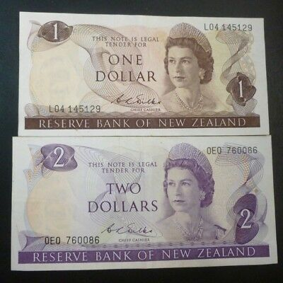 Reserve Bank Of New Zealand One & Two Dollar Notes. (Wilks) Very Good Condition