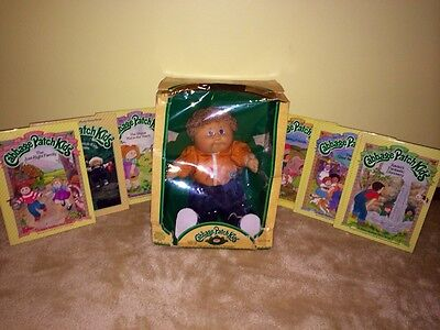 VTG 80s NEW NIB CABBAGE PATCH KID CPK BOY IN BOX PLUS 6 BOOK LOT