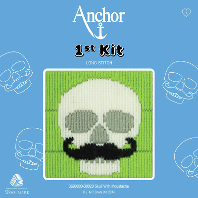Skull with Moustache  - Long Stitch - Anchor 1st Kit - 3690000-30020
