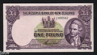 NEW ZEALAND P-159b. (1955-56) One Pound - Wilson. Prefix J/3..  aU-UNC