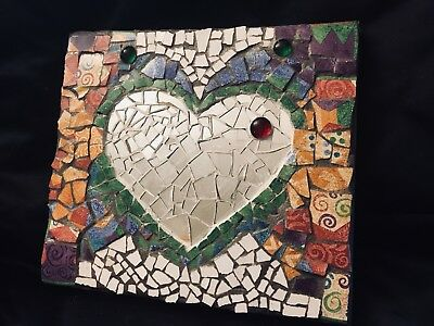 Abstract colorful Heart Mosaic Wall Hanging / Picture / 10x11