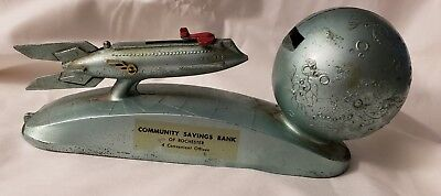 """1950s DURO STRATO XU 232 ROCKET TO THE MOON 8"""" MECHANICAL BANK ROCHESTER NY"""