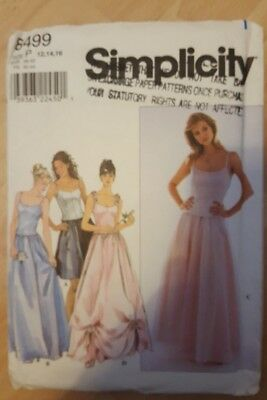 Simplicity 8499 Wedding Bridal Dress Fitted Top Skirt Sewing Pattern 12 14 16