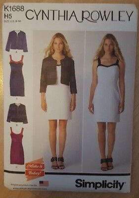 Sewing Pattern Dress Summer Evening Jacket Simplicity K1688 6 8 10 12 14  Uncut