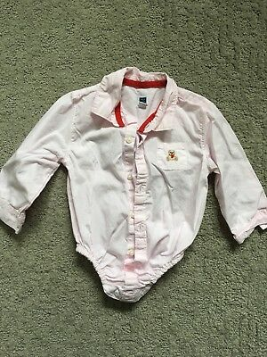 Janie And Jack Baby Boys Button Down Shirt Size 12-18 Mos - Baby Pink Color