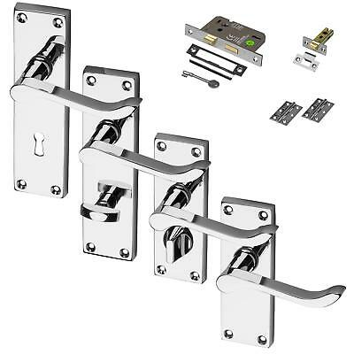 Chrome Lever Door Handle Fire Rated Mortice Latch Lock Bathroom Privacy Scroll