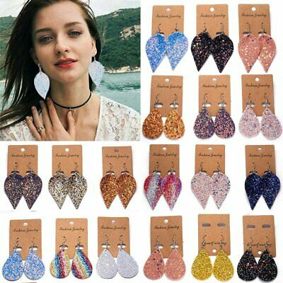 Boho Leather Earrings Leaf Teardrop Ear Stud Hook Drop Dangle Womens Jewellery