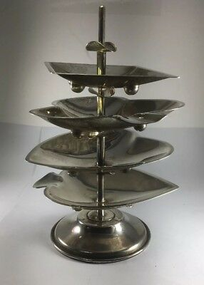 Vintage Sterling Silver Playing Card Suited Cigar Rest / Ashtray Set & Stand