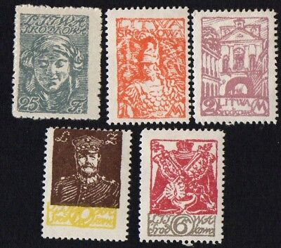 Central Lithuania. 1920 New Daily Stamps. SG 14, 15, 16, 18, 19. MH
