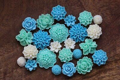 24 Resin Flower Cabochon Flat Back Embellishments Mix Colours Mint Blue Cream