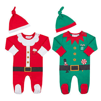 Baby Boys Girls Novelty Christmas Babygrow Santa Elf Dress Up Sleepsuit Newborn