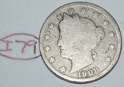 United States 1908 Liberty Head Nickel USA 5 Cents Coin Lot #I79