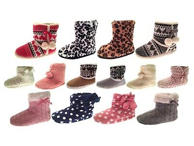 Womens Slipper Boots Knitted Fur Fleece Booties Girls Ladies Slippers Gift Size