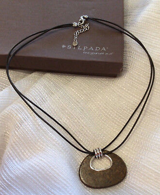 Silpada 925 Sterling silver Bronze Age necklace brown leather N2014 bronzite