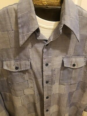 Vintage 1970s Kmart Patchwork Chambray Shirt XL