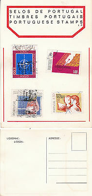 STAMPS OF PORTUGAL ON AN UNUSED COLOUR  POSTCARD (a)