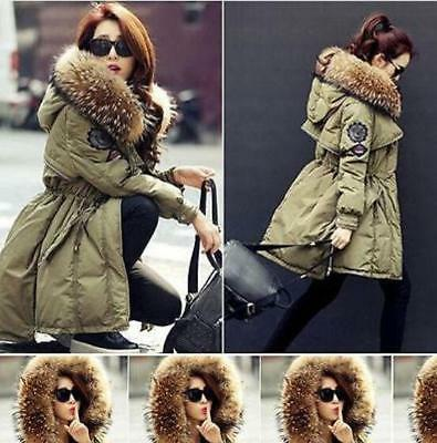 Womens Thicken Duck Down Parka Winter Warm Lady Real Fur Collar Hood Coat Jacket
