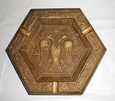 Vintage Double Headed Eagle 5 sided Brass ASHTRAY / ASH TRAY made in Greece
