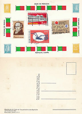 STAMPS OF PORTUGAL ON AN UNUSED COLOUR  POSTCARD (d)