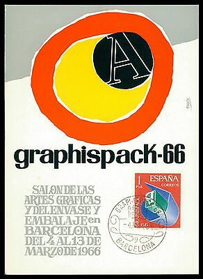 SPAIN MK 1966 BARCELONA GRAPHISPACK GRAFIK GRAPHIC CARTE MAXIMUM CARD MC CM ce96