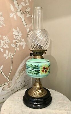Antique Victorian Oil Lamp Handpainted Green Opaque Glass Heavy Black Base