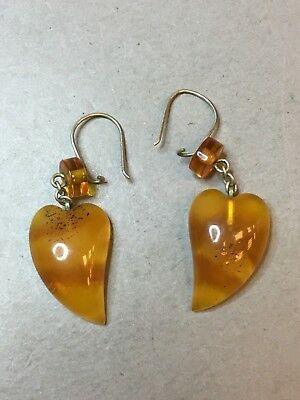 Natural Old Antique Yellow Butterscotch Baltic Amber Earrings
