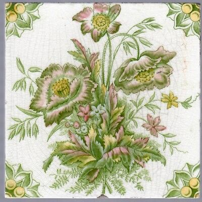 Decorative Antique Victorian Tile - c1890- Natural Pink Floral